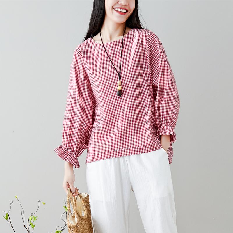 实拍8713#2019春大码女装文艺棉麻喇叭袖上衣T恤