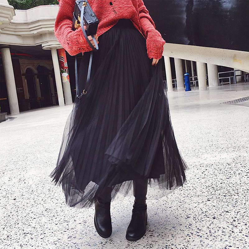 2017新款秋季韩版ulzzang高腰网纱半身裙女中长款百搭百褶长裙子