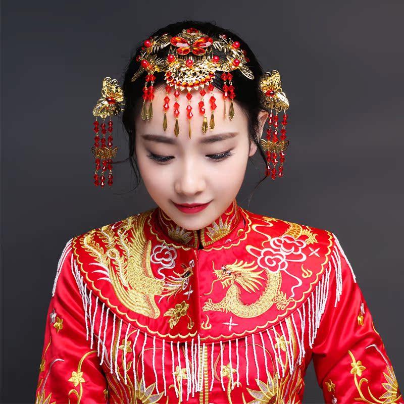 中式復古新娘頭飾結婚秀禾服鳳冠發飾龍鳳褂禮服配飾古裝頭飾