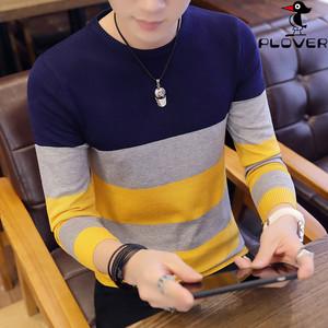 啄木鸟正品秋季新款男装针织衫毛衣青年男士休闲修身圆领长袖T恤