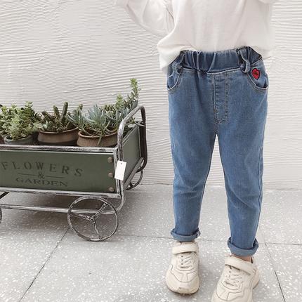 女童秋装裤子2019新款儿童宝宝小脚春秋洋气休闲长裤弹力牛仔裤潮