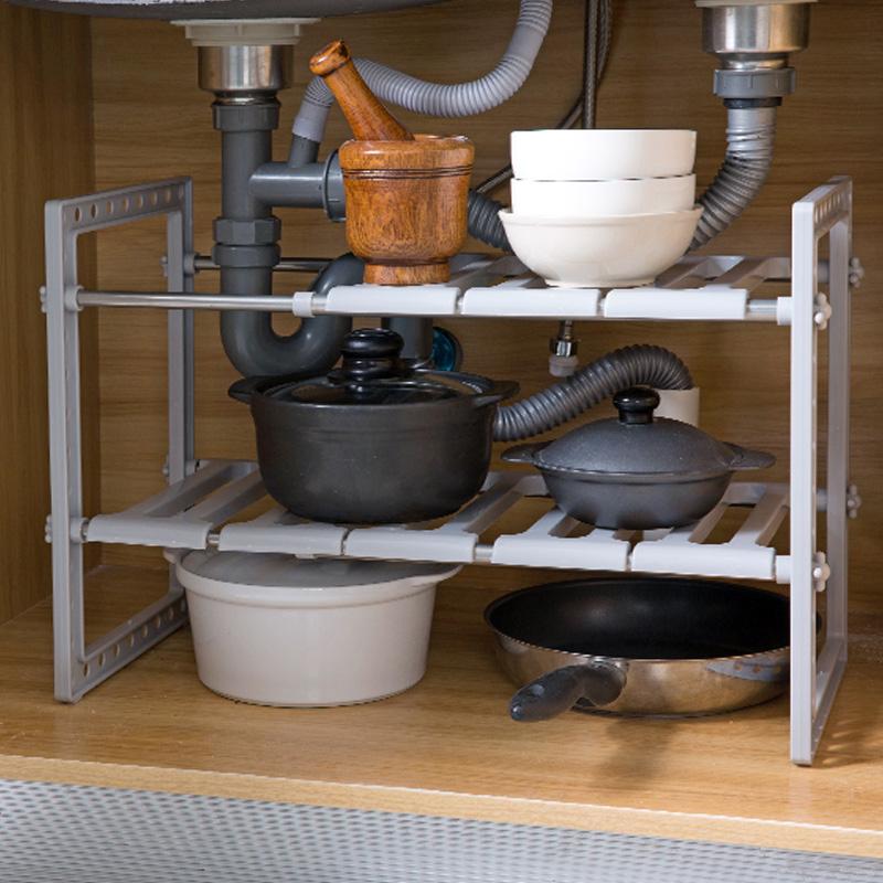 居家家不锈钢水槽下架子厨房置物架多层伸缩收纳架落地储物架锅架