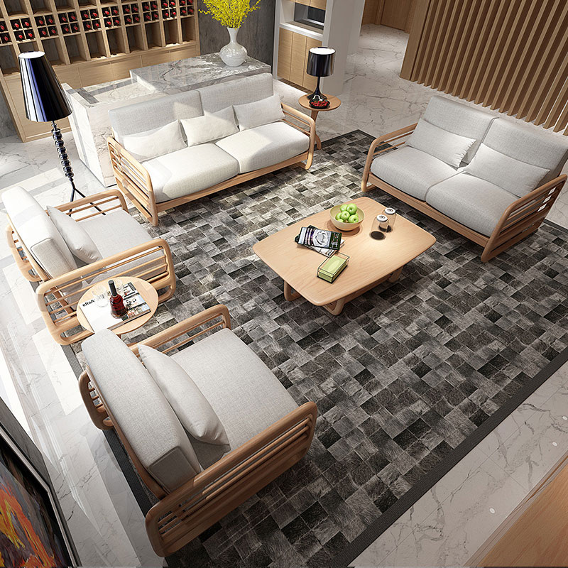 Home sister solid wood single sofa, Nordic style fabric sofa combination of three people, Japanese style living room 3+1 small apartment