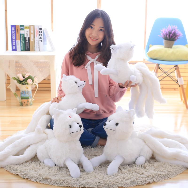 白色坐高26厘米全長56厘米三生三世十里桃花九尾狐公仔毛絨玩具白狐貍娃娃玩偶生日禮物
