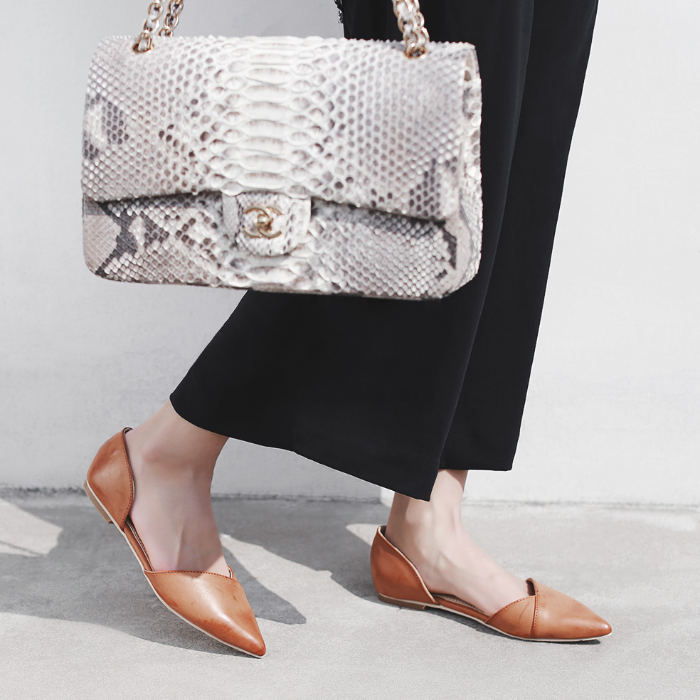 灰色35小p良品鋪 淺口尖頭平底單鞋時尚擦色復古做舊春季新款女鞋子