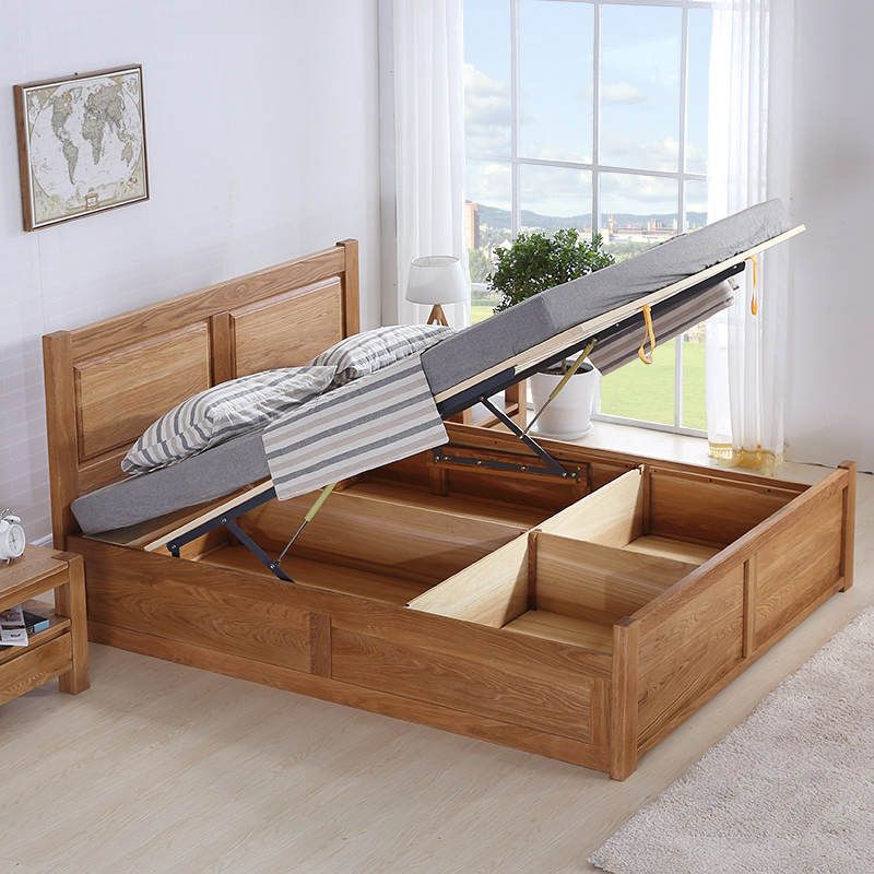 All solid wood bed, environmental protection, paint free 1.8 meters double bed, wood wax oil wedding bed, high box storage bed, white oak furniture