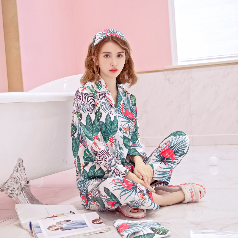 Korean women fall pajamas long sleeved pants suit thin silk silk pajamas four piece can wear clothing Home Furnishing