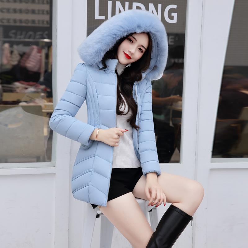 实拍羽绒服冬中长款羽绒棉服女韩版修身大毛领显瘦外套1728
