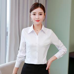 白衬衫女长袖2018春秋新款韩版职业装工装修身显瘦工作服打底衬衫