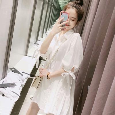 春夏装复古休闲宽松中长款白色衬衫女很仙的洋气衬衣裙娃娃衫746#
