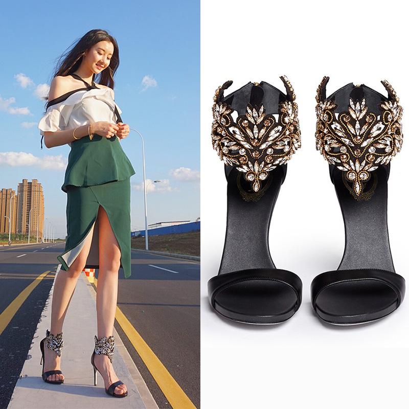 2017新款夏季女鞋手工缝制鞋欧美露趾中空水钻细跟高跟女士凉鞋