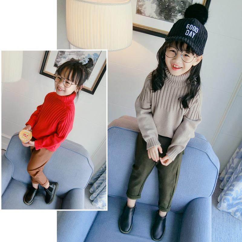女童毛衣套头儿童秋冬高领针织衫女宝宝韩版上衣冬装中长款毛线衣