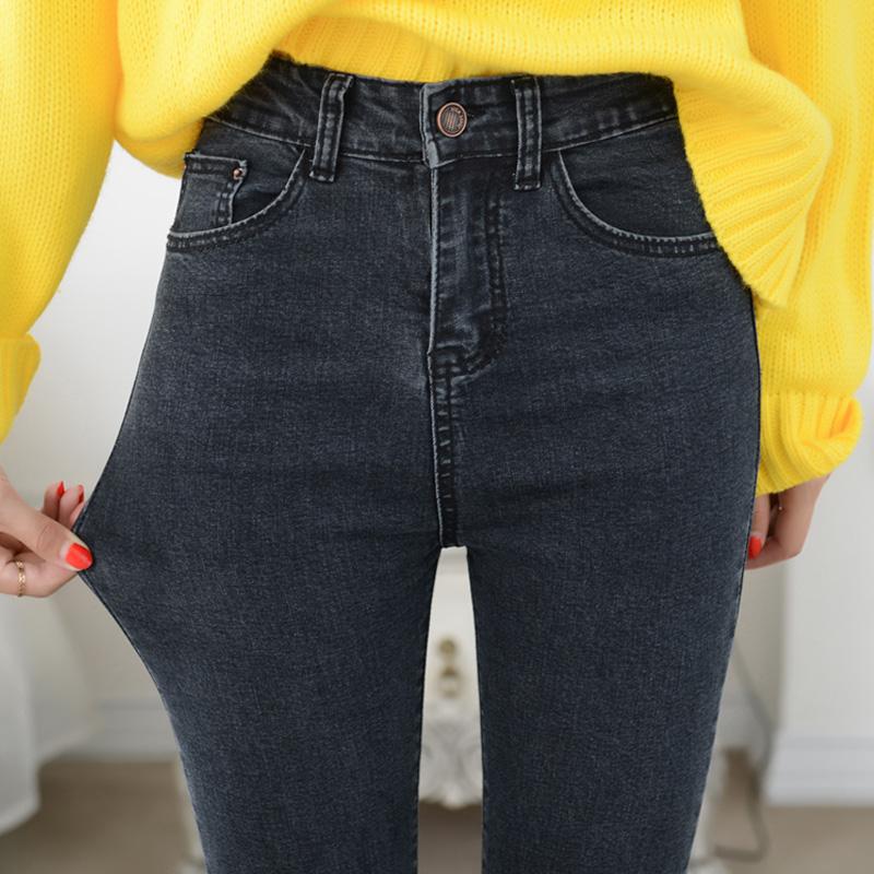 高腰牛仔褲女修身小腳黑色女士秋鼕款加絨九分顯瘦韓版長褲子