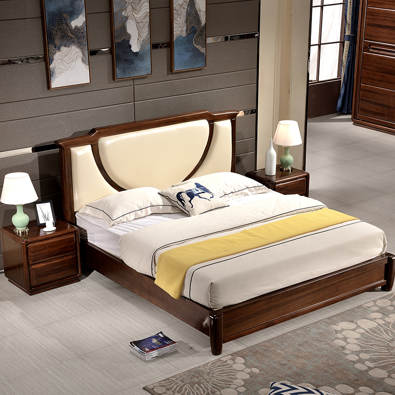 New Chinese pure pure wood 1.8 meters, master bedroom double black walnut, soft high bed, high grade bedroom furniture