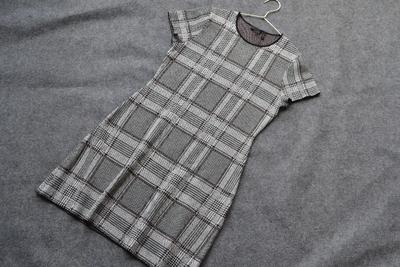 2018秋款 100%美丽诺羊毛威尔士格纹 三色芝麻底针织连衣