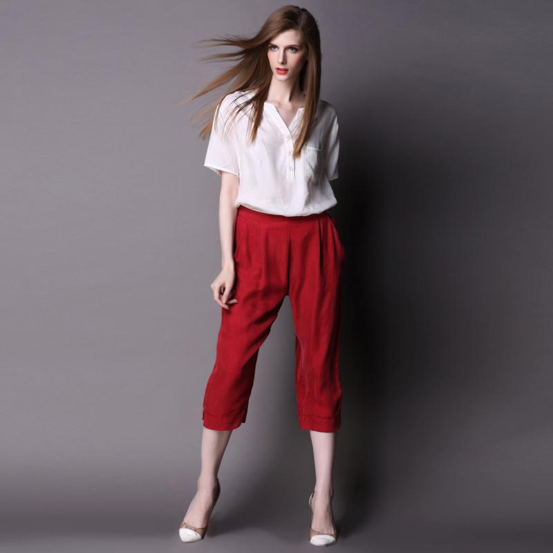 In Estate la Moda del Tempo Libero cuprammonium rivestiti di Due Pezzi a Maniche Corte e una Donna in Piedi Larghi pantaloni Due serie di Sette