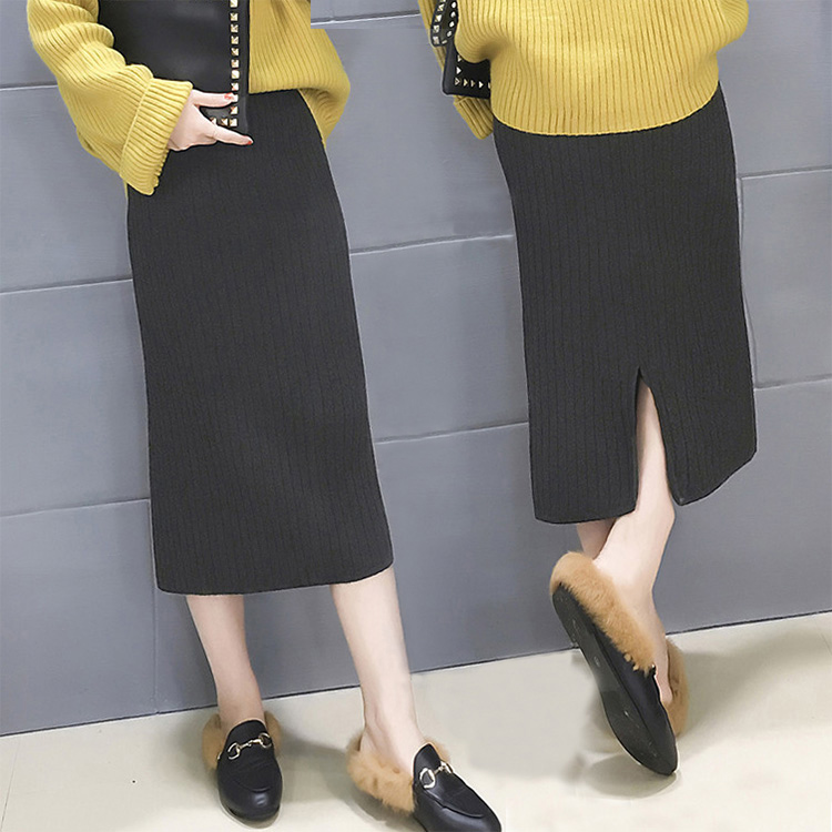 2017秋鼕新款加厚針織半身裙中長款百搭修身直筒鉛筆裙高腰包臀裙