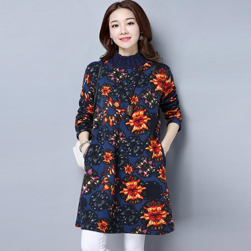 3616#(实拍)2016冬季新款高领套头夹丝绵复古文艺连衣裙女