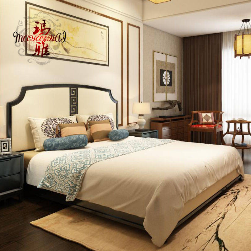 Modern new Chinese style cloth art, new classical double bed, Manchurian ash solid wood wedding bed, 1.8 meter Hotel, model room furniture
