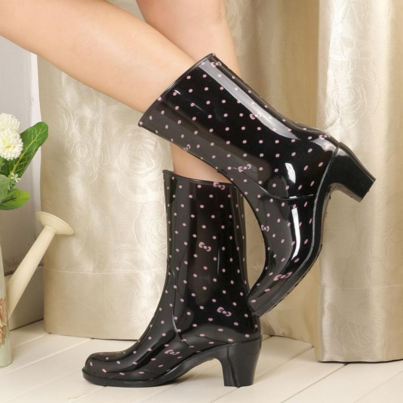 春秋時尚女雨鞋高跟水鞋防滑雨靴中筒水靴成人膠鞋套鞋可加絨保暖