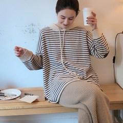 【年末清仓】ins风宽松连帽衫女条纹慵懒风毛衣针织衫套头卫衣