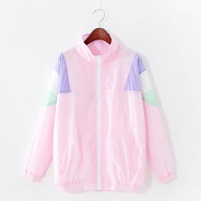 冬季新薄款韩版学院风糖果色插袋宽松学生防晒服开衫棒球服外套女