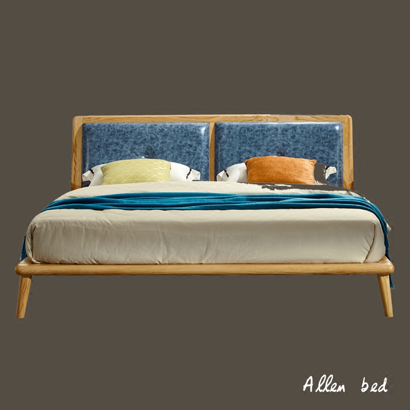 Nordic solid wood bed, 1.8 meters double bed, master bedroom, Japanese log, bedroom furniture, modern minimalist style, solid wood
