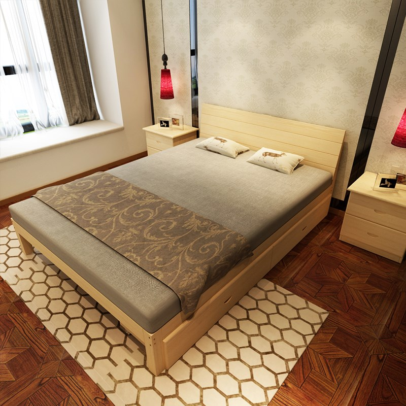 New bed frame, double bed 1.8 meters, simple pine bed 1.5 meters, children's bed 1 meters, simple 1.2 meters single solid wood bed