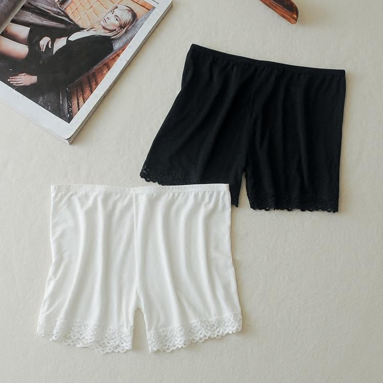 白色均碼白色棉質防走光打底褲蕾絲花邊彈力安全褲透氣三分內搭保險褲短款