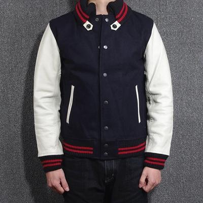 2016新品出口日本订单剩余男款80%羊毛呢配头层牛皮真皮袖夹克男原单