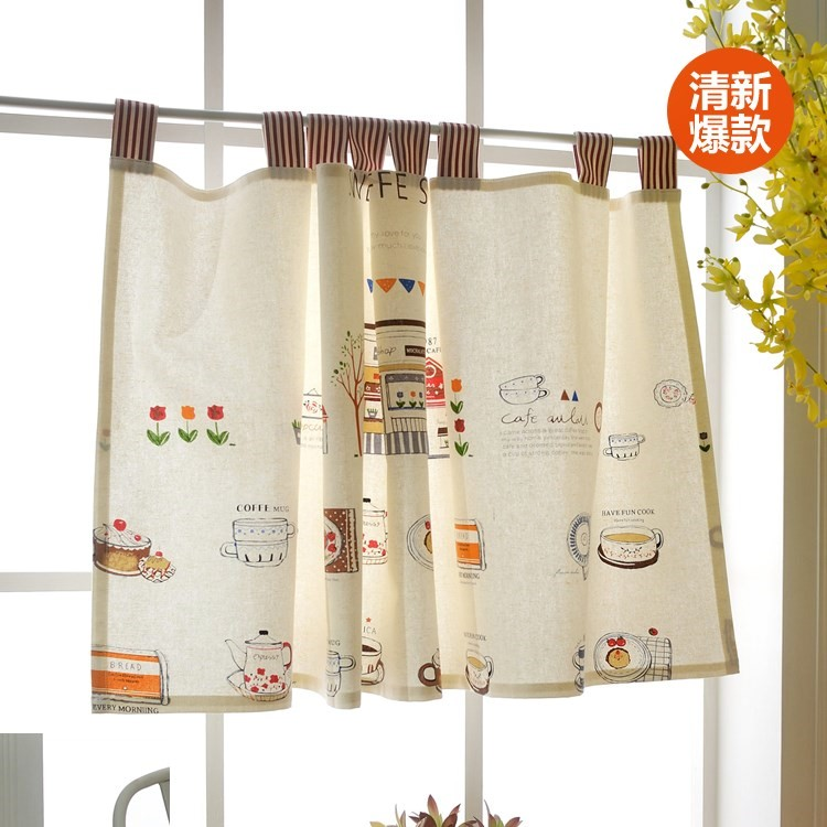 Shipping cotton curtains kitchen curtains cotton curtain curtain curtain half coffee cartoon short curtain curtain Feng Shui