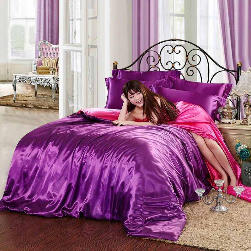 In the summer of four sets of 4 sets of four 1.8M satin silk bedspread bedding solid four new Tencel