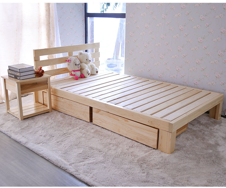 Pine wood special offer children bed single bed double bed with drawer boy pine flat bed can be customized
