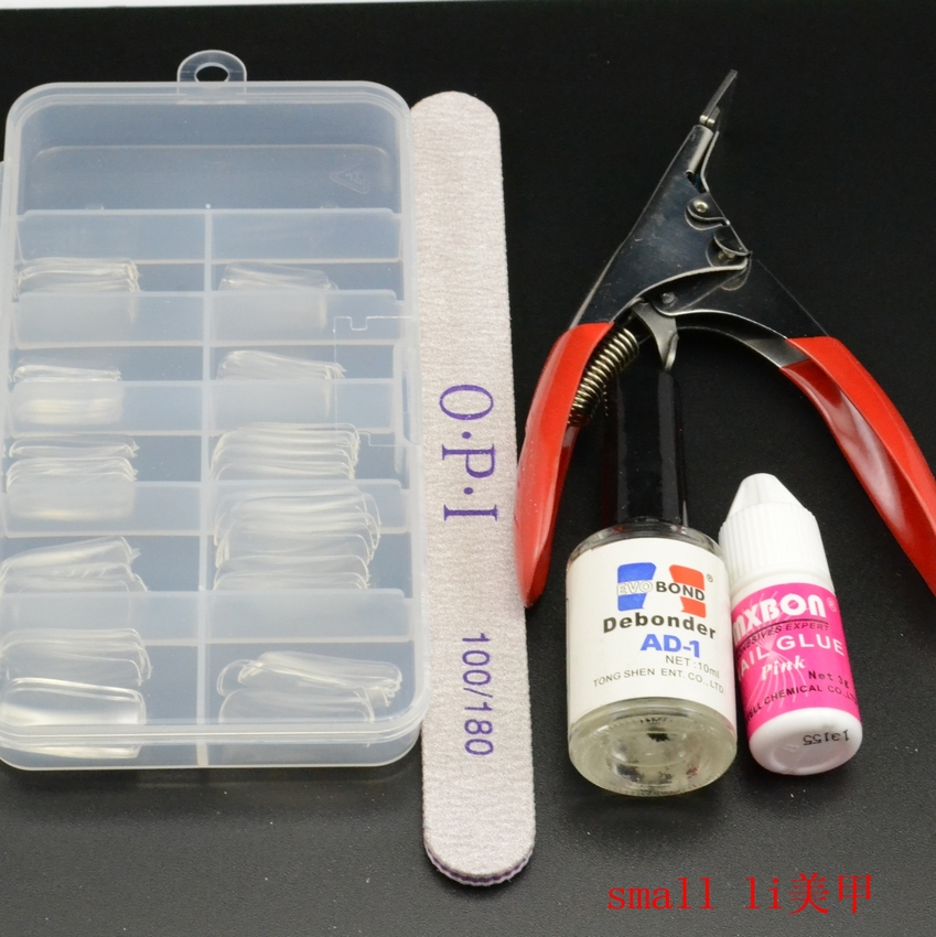 Nail fake nail kit, a full set of nail polish polishing sand, glue solution, a word clip mail