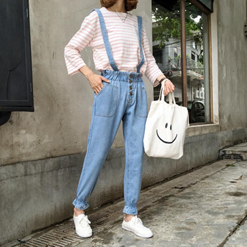 韩版学院风松紧腰牛仔裤女长裤可拆卸背带裤百搭高腰宽松小脚裤子
