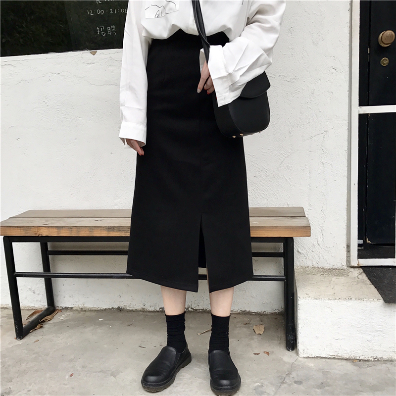 前开叉系带黑色包臀高腰半身裙女秋季新款韩版修身显瘦百搭一步裙