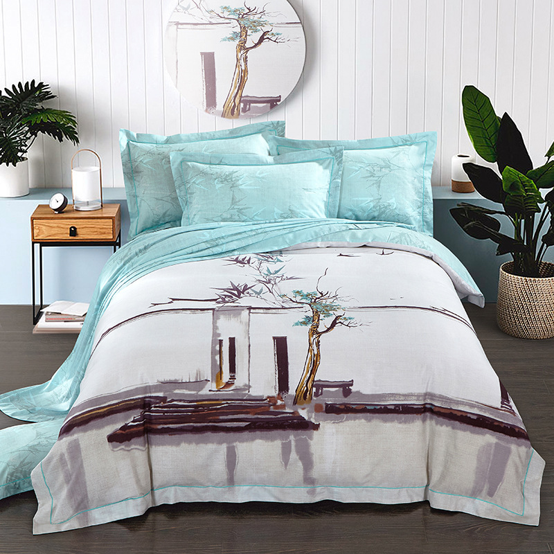 Spring and summer of 2017 new 60 bed linen Tencel four piece Satin quilt naked
