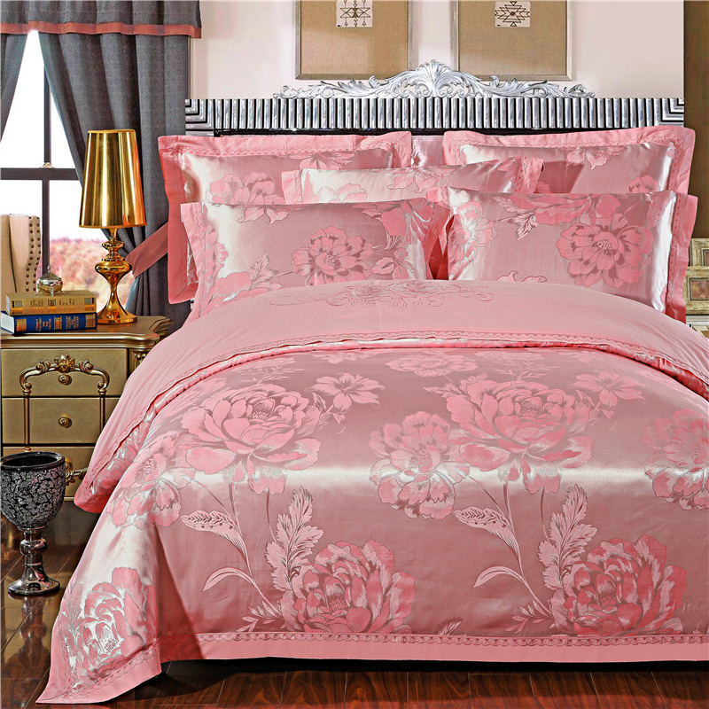 Gong Tingfeng cotton blended embroidery jacquard bed sheet type comfortable four piece of rose jade