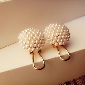 【天天特价】韩版淑女金半球形蘑菇小米珍珠耳饰耳扣耳环耳钉女