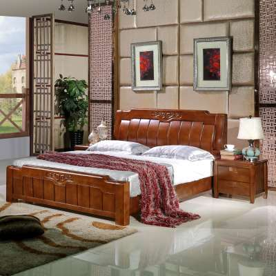 White solid wood bed 1. bed 5m1.8 meters, double oak storage high box, present marriage bed instead of new Chinese main package