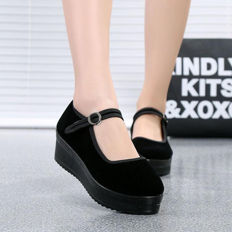正品松糕厚底老北京布鞋女鞋高跟防滑單鞋工作鞋跳舞鞋坡跟黑布鞋
