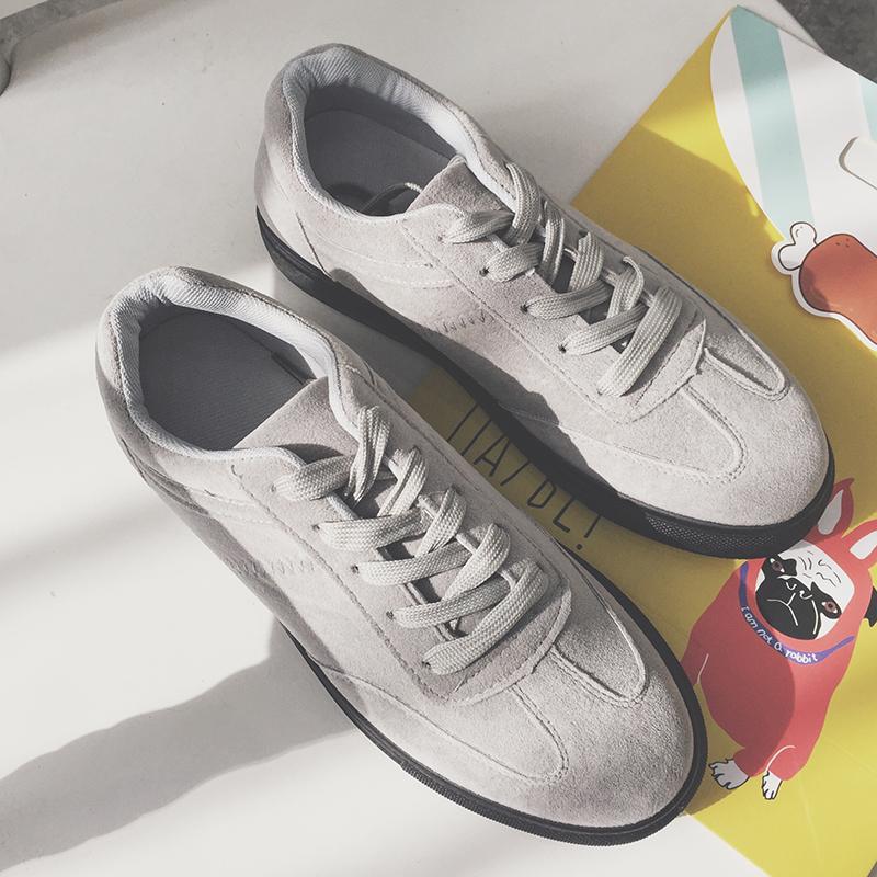 男士磨砂休闲鞋百搭系带小皮鞋时尚简约冬季男鞋子青年返绒皮板鞋