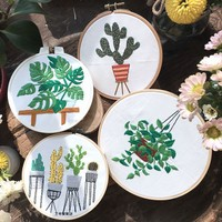 The Japanese purchase plant cactus package DIY Kit manual embroidery Scindapsus European embroidery material package