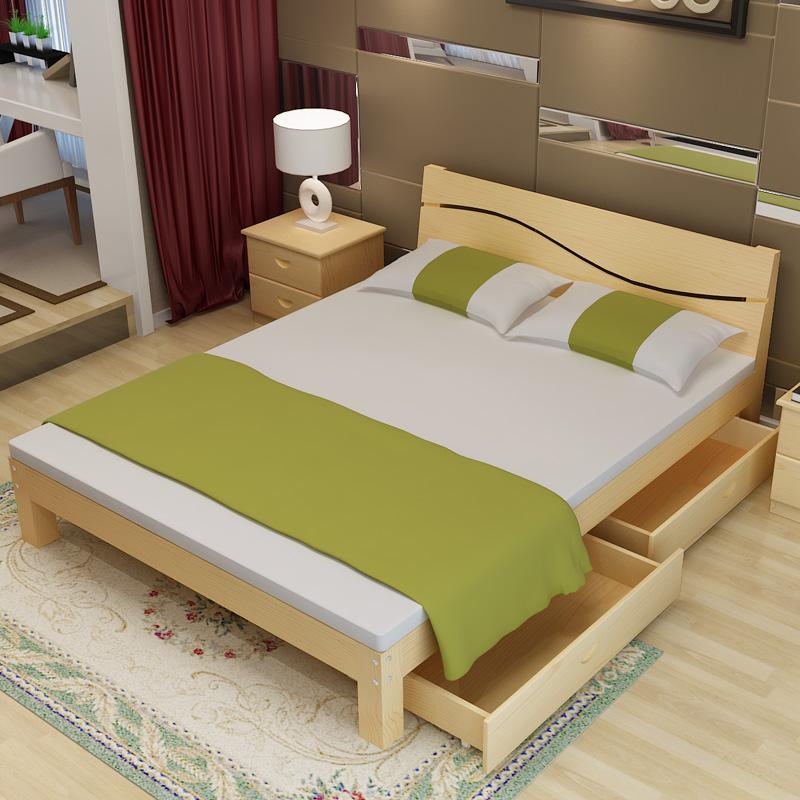Solid wood double bed 1.5 meters 1.8 meters bed master bedroom, modern simple pine 1 meters, single bed 1.5 solid wood bed