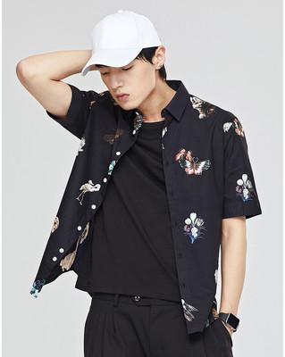 多种印花夏新款G牌男士修身藏青色印花中袖休闲短袖衬衫#62223068原单