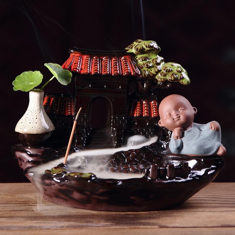вспять кадило керамики творческих украшения маленький монах Гуаньинь ложных дерево Ароматерапия ладан включить крытый бытовой для Будды