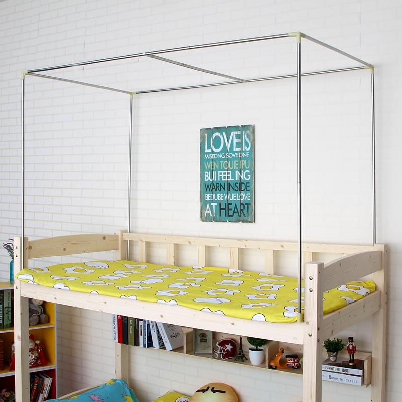 Con el apoyo de estudiantes de la Universidad de mujeres de la cortina de la cama cama dormitorio dormitorio bajo mosquiteros de cama de polo de acero inoxidable.
