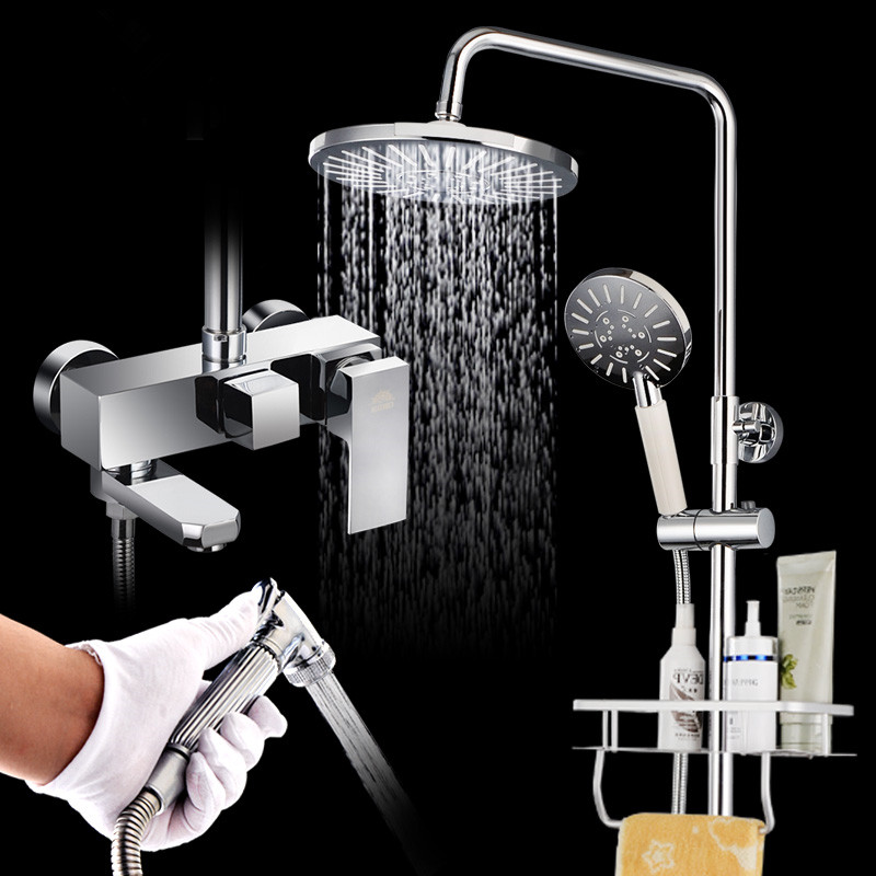 Hot and cold shower shower set toilet bath mixing valve installed space aluminum shower faucet home