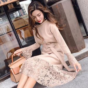 街头潮人气质美裙实拍新款甜美可爱气质美裙针织抓绒拼接蕾丝大摆连衣裙配腰带气质通勤气质美裙