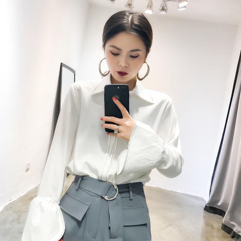 CICI 2017秋裝新款女裝 氣質喇叭袖設計雪紡明線立體線條純色襯衫